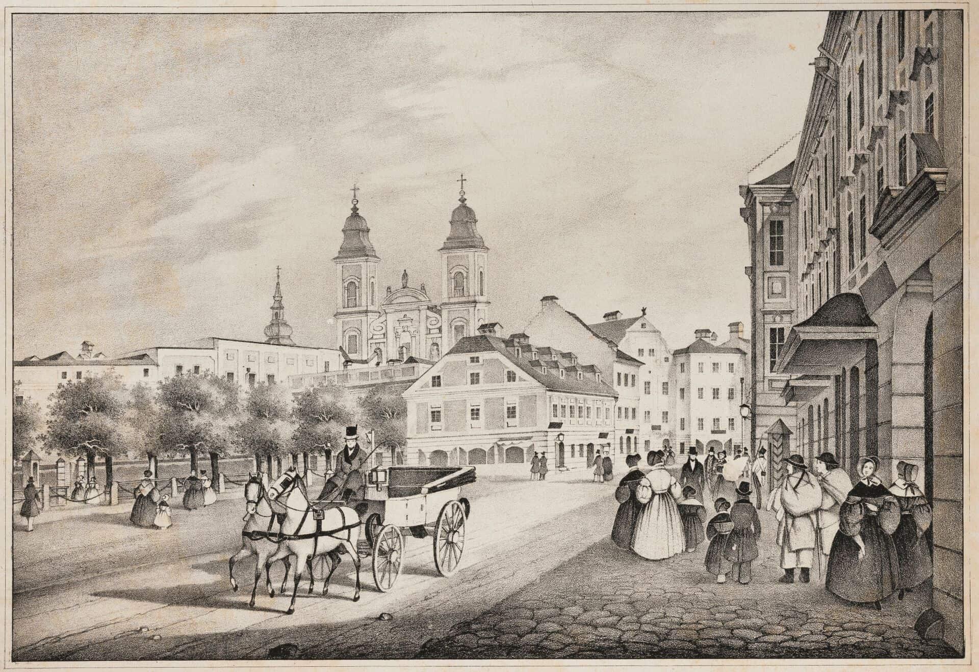 181002-02.02 Josef Hafner, Lithograhpe _Promenade um 1860_-0005_copyright_Robert_Maybach